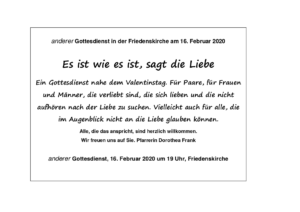Plakat anderer Gottesdienst am 16.2.2020